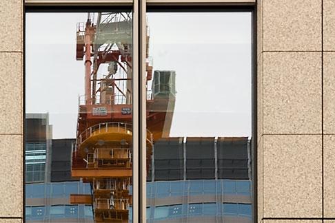 image 5-850-2845 Japan, Tokyo, Crane reflection in window