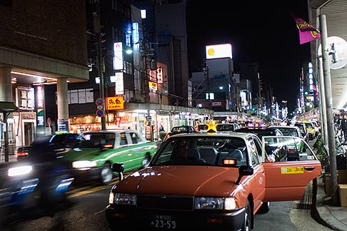 image 5-855-2471 Japan, Kyoto, Taxis at night