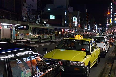 image 5-855-2481 Japan, Kyoto, Taxis at night