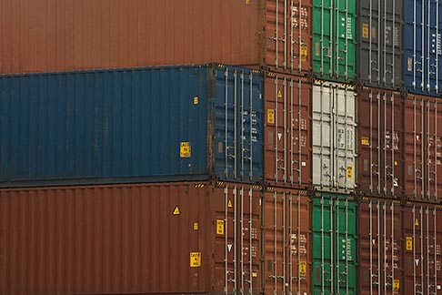 image 7-675-3631 Shipping, Containers stacked on dock