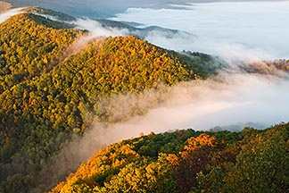7-740-744  stock photo of Kentucky, Southeast, Cumberland Gap National Historical Park, Morning fog