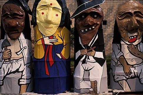 image 2-702-30 South Korea, Andong , Mask Dance Festival, Large masked figures