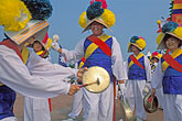 three men stock photography | South Korea, Andong , Mask Dance Festival, Musicians, image id 2-702-4