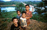 four children stock photography | Laos, Vientiane Province, Children, Thalat, image id 8-570-1