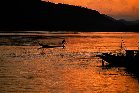 8-602-3  stock photo of Laos, Luang Prabang, Fisherman on the Mekong River