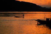 sunset on the mekong river stock photography | Laos, Luang Prabang, Fisherman on the Mekong River, image id 8-602-3