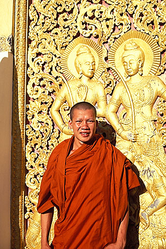 image 8-602-75 Laos, Luang Prabang, Monk, Wat Xieng Thong