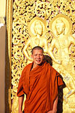one person stock photography | Laos, Luang Prabang, Monk, Wat Xieng Thong, image id 8-602-75