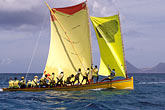 yellow stock photography | Martinique, Yoles rondes sailboat racing, image id 8-299-7