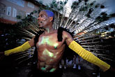 exhilaration stock photography | Martinique, Carnaval, Caraval celebrant with feathers, image id 9-33-83