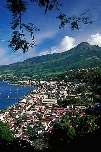 image 9-70-33 Martinique, Saint Pierre, View of town with Mt Pelee
