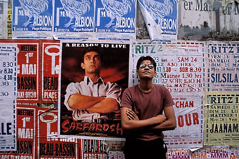 image 9-203-39 Mauritius, Curepipe, Man and poster