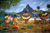 paint stock photography | Mauritius, Mural of traditional dancers, image id 9-203-92