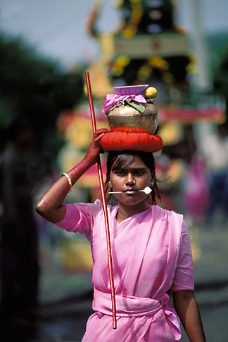 image 9-221-28 Mauritius, Cavadee Festival, A woman devotee carrying a sambo of milk