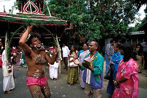 image 9-221-39 Mauritius, Cavadee Festival, Devotee dancing with wooden cavadee