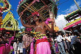 festival stock photography | Mauritius, Cavadee Festival, Devotee carrying a wooden cavadee, image id 9-221-6