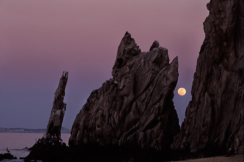 image 0-50-2 Mexico, Cabo San Lucas, Full moon, Lands End