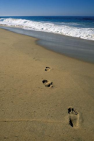 image 0-62-67 Mexico, Baja California Sur, Footprints on beach