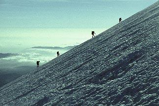 1-15-17  stock photo of Mexico, Rope team on the Jamapa Glacier, Pico de Orizaba