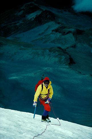 image 1-6-20 Adventure travel, Mountain Climbing, Mexico, roped climber on glacier ice on Popocatepetl volcano