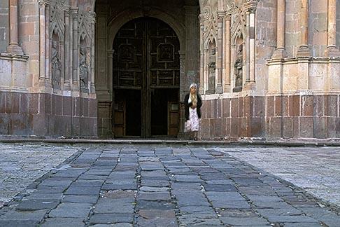 image 4-262-15 Mexico, San Miguel de Allende, Woman leaving La Parroquia church after service