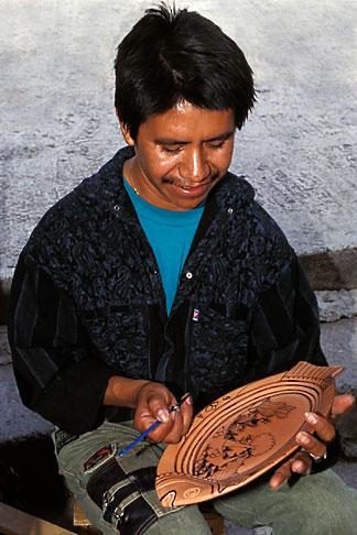 image 4-288-30 Mexico, San Miguel de Allende, Hand painting stoneware, Mercado de Artisanes