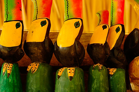 image 4-850-2799 Mexico, Riviera Maya, Carved toucans