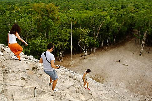image 4-850-2860 Mexico, Yucatan, Coba, climbing El Castillo