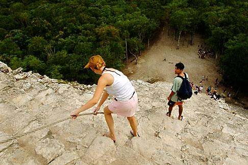 image 4-850-2869 Mexico, Yucatan, Coba, climbing El Castillo