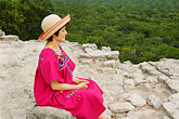 one woman only stock photography | Mexico, Yucatan, Cob�, El Castillo pyramid, Nohoch Mul group, image id 4-850-2872