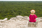 one woman only stock photography | Mexico, Yucatan, Coba, El Castillo, meditation, image id 4-850-2880