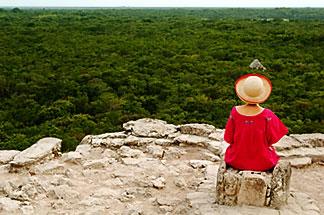 4-850-2880 stock photo of Mexico, Yucatan, Coba, El Castillo, meditation