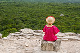 one woman only stock photography | Mexico, Yucatan, Cob�, El Castillo pyramid, Nohoch Mul group, image id 4-850-2882