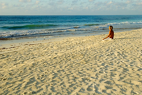 image 4-850-2913 Mexico, Tulum, Meditation on the beach