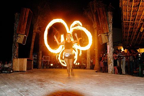 image 4-850-3547 Mexico, Playa del Carmen, Fire dancer