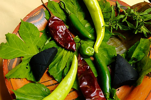image 4-850-3746 Mexican Food, Typical ingredients for Mayan Cuisine, Chaya leaves, achiote, habaneros