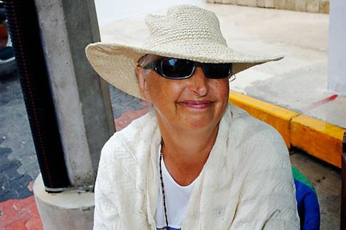 image 4-850-4369 Mexico, Playa del Carmen, Woman at cafe