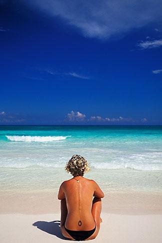 image 4-882-57 Mexico, Riviera Maya, Xpu Ha Beach, woman sunbathing