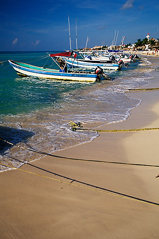 image 4-883-87 Mexico, Playa del Carmen, Fishing Boats