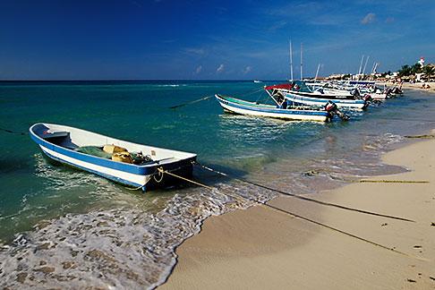 image 4-886-3 Mexico, Playa del Carmen, Fishing Boats