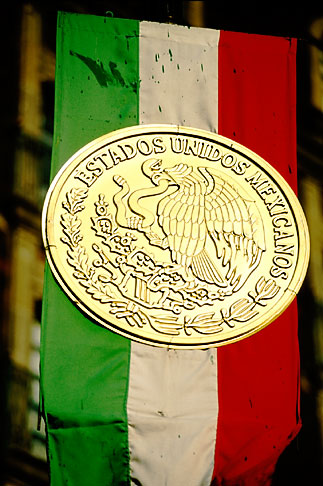 image 5-67-21 Mexico, Mexico City, Mexican Flag and seal, Zocalo