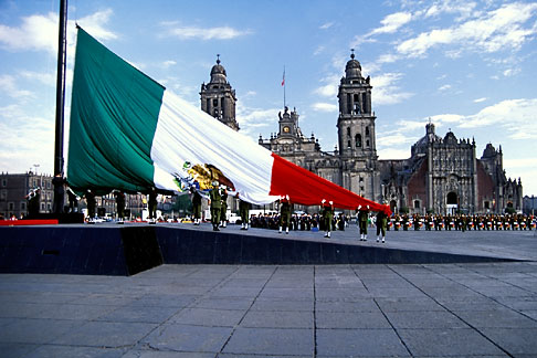 image 5-68-29 Mexico, Mexico City, Raising the Mexican flag on Constitution Day, Zocalo