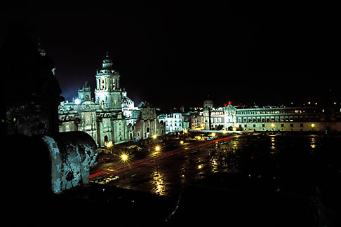 image 5-8-10 Mexico, Mexico City, National Cathedral and Zocalo at night