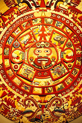 image 5-80-33 Mexican art, Painting of design on Piedra del Sol, Aztec calendar, 1350 1531, Museo de Anthropologia