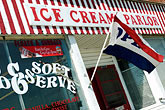 us flag stock photography | Michigan, Upper Peninsula, Engadine, Ice Cream Parlor, image id 4-940-903