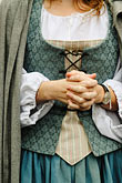 tradition stock photography | Canada, Montreal, Maison Saint Gabrielle, woman in period dress, hands, image id 6-460-1543
