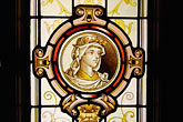 figure stock photography | Canada, Montreal, Auberge Saint-Gabriel, stained glass, image id 6-460-1634