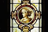 figure stock photography | Canada, Montreal, Auberge Saint-Gabriel, stained glass, image id 6-460-1639