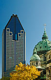 skyscrapers and blue sky stock photography | Canada, Montreal, Basilica of Notre Dame, and high-rise office building, image id 6-460-1725