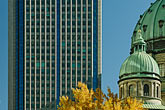 office building and trees stock photography | Canada, Montreal, Basilica of Notre Dame, and high-rise office building, image id 6-460-1729